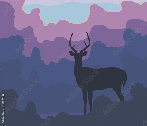 Foto op Plexiglas Purper Blue silhouette of a deer against a background of blue forest evening trees, lilac pink clouds and setting sun vector illustration.