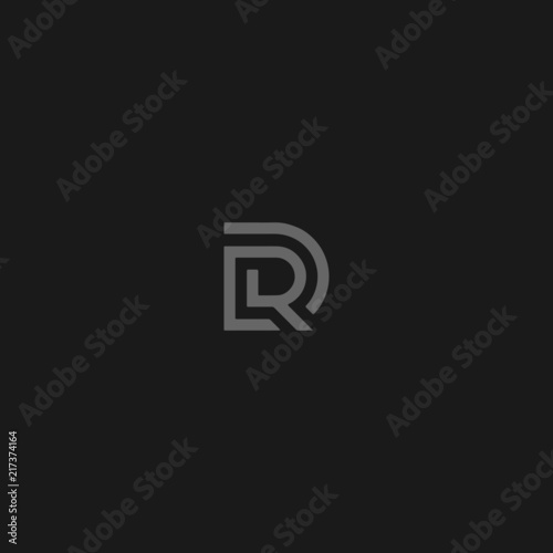 Fotomural Unique modern trendy DR or RD grey color initial based icon logo.