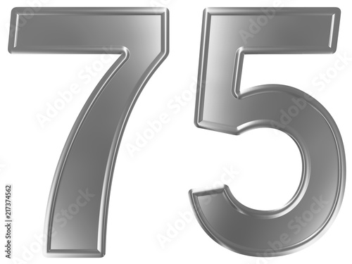 Numeral 75, seventy five, isolated on white background, 3d render Poster