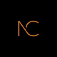 Unique Modern Trendy NC Black And Orange Color Initial Based Icon Logo.