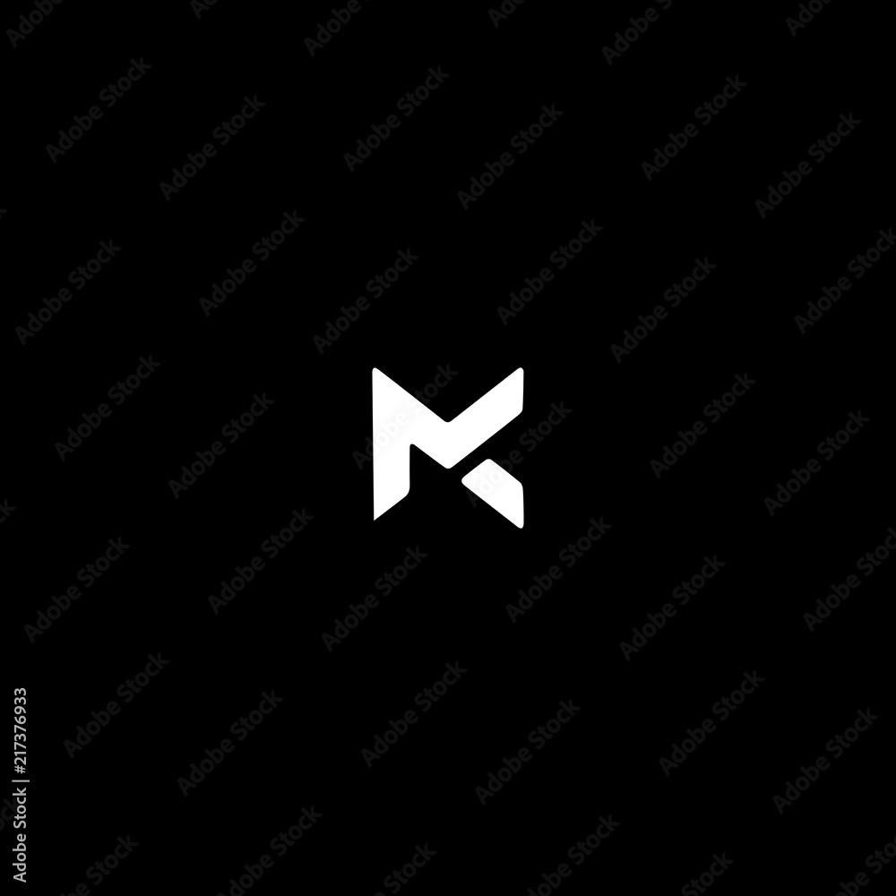 Fototapeta Unique modern trendy MC black and white color initial based icon logo.