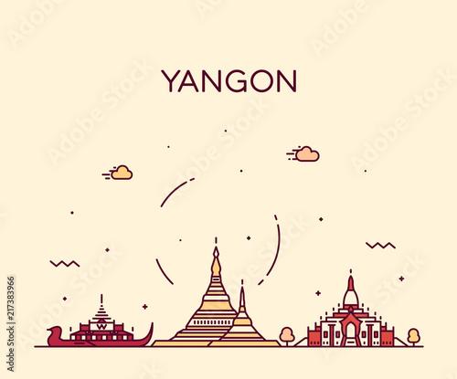 Obraz na płótnie Yangon skyline, Myanmar vector linear style city