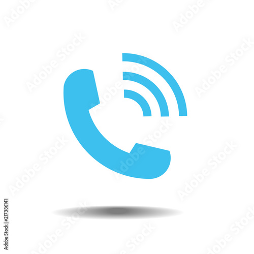 Blue phone icon symbol in trendy flat style isolated on