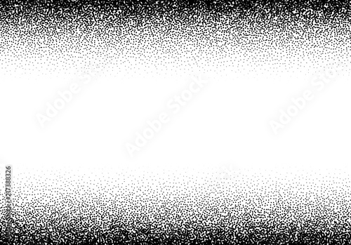 Fototapeta  Dotwork gradient background, black and white scattered stipple dots
