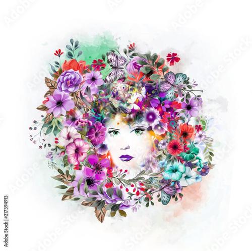 Абстрактные и мистические женщины лицом красочные иллюстрации