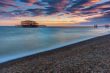 The Old Destroyed West Pier In Brighton, UK, After Sunset