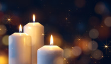 Candles Lit During Christmas Celebration
