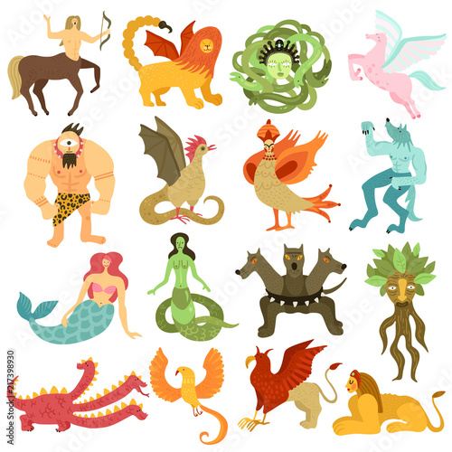 Fotografie, Tablou Mythical Creatures Set