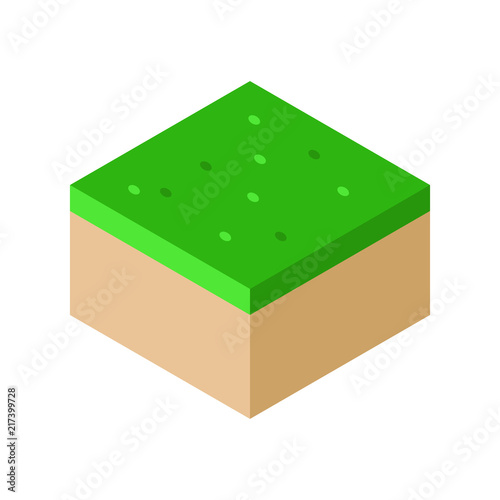 Isometric Landscape Cube Ground Grass vector illustration Wallpaper Mural