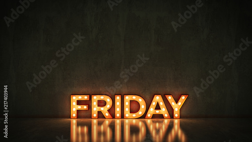 Fotografie, Obraz  Neon Sign on Brick Wall background - Friday. 3d rendering