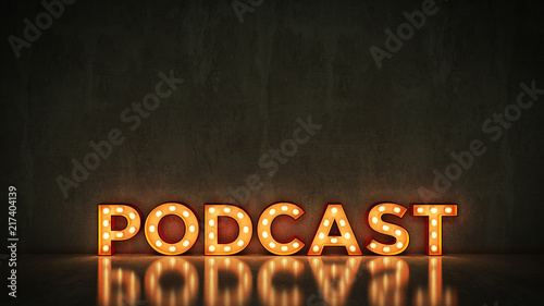 Stampa su Tela Neon Sign on Brick Wall background - Podcast. 3d rendering