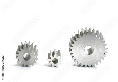 Photo  Metal cogs on a white background