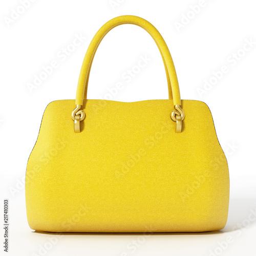 Photo Yellow handbag isolated on white background. 3D illustration