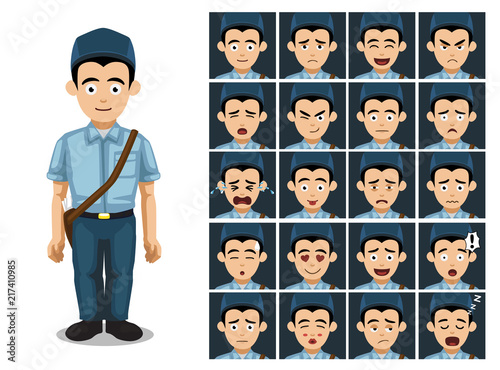Postal Worker Cartoon Emotion Faces Vector Illustration Buy This