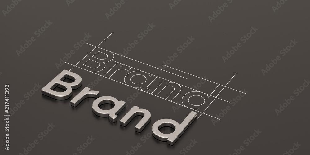 Fototapeta Steel word brand on black background brand concept design 3D illustration.