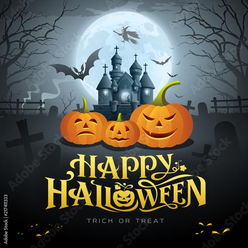 Foto  Happy Halloween gold message, pumpkin bat, witch, castle, design background, vec