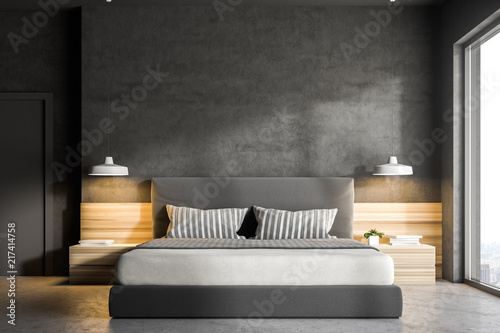 Foto  Concrete bedroom interior