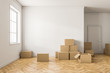 Empty white room with boxes