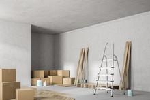 Concrete Room Corner With Unfinished Wooden Floor