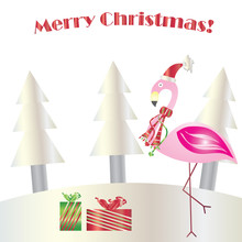 Christmas Flamingo Vector - Merry Christmas Card - Greeting Card