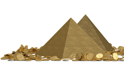 Golden pyramid and coins isolated on white background 3D illustration.