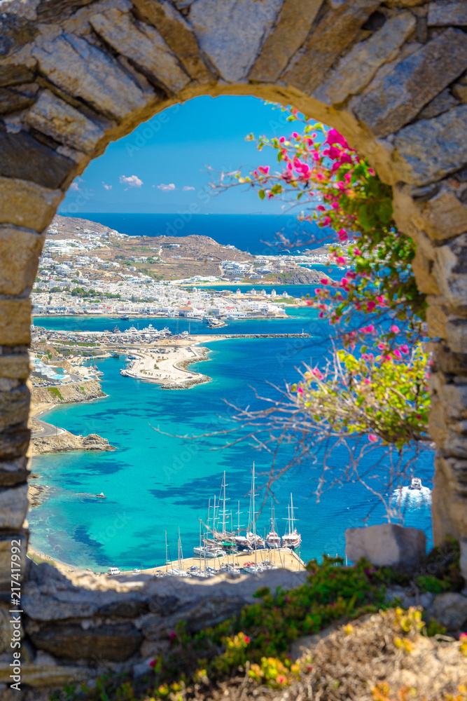 Fototapeta Mykonos port with boats and windmills, Cyclades islands, Greece