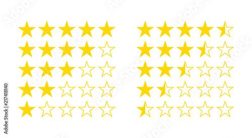 Obraz Five star rating from half star to 5 illustration flat icon vector - fototapety do salonu