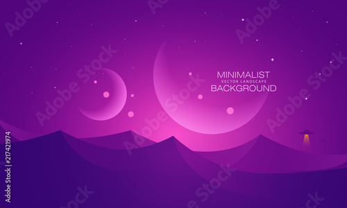 Deurstickers Violet Minimalist vector landscape background, abstract sunset surface and a planet for your design.