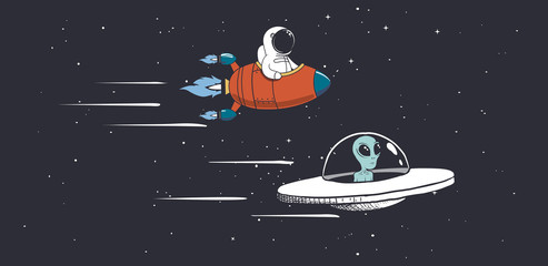 Alien and astronaut are eng...