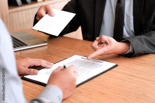 Business Man Sending Resignation Letter To Boss And Holding Stuff