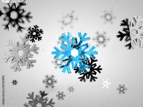 Photo  Image of snowfall, array silver coin snowflakes and one blue, from ice in the center of the, with depth stridency