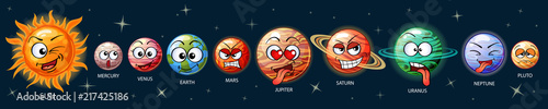 фотография Cute emoji planets of the solar system
