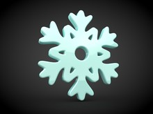 Illustration, Image Of Blue Snowflake, Crystal Structure,, Symbol Of Cold, Winter, Snow And North. Icon Of Refrigeration Unit, Refrigerator. 3D Rendering, On A Black Background.