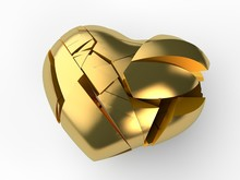 The Image Of The Broken Golden Heart Into Many Pieces. Illustration For The Valentine Holiday, The Day Of Love And Lovers. 3D Rendering