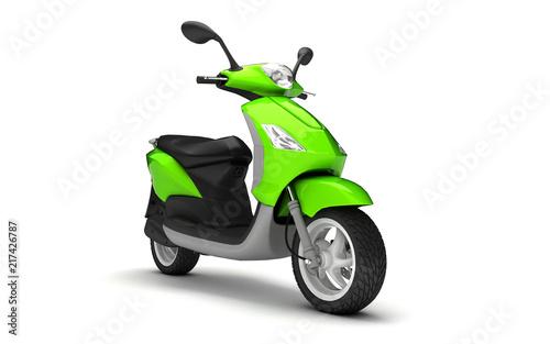 Fotografija 3D Rendering of light green modern motor scooter isolated on white background