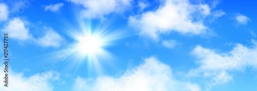 Sunny background, blue sky with white clouds and sun Tapéta, Fotótapéta