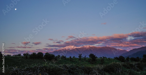 Foto op Aluminium Aubergine Mountain scenery at sunrise