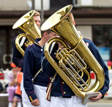 Street Musician Playing Tuba