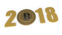 A Gold Image Of 2018, The Year Of The Cryptocurrency, The Bitcoin Era. The Date 2018 Zero Replaced By Bitcoin. The Idea Of Development Of Crypto-currencies, International Money. 3D Rendering