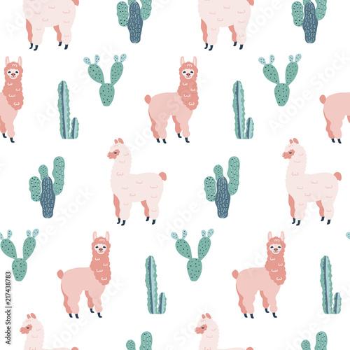 nowozytna-bezszwowa-reka-rysujacy-wzor-z-alpakami-i-kaktusami-dziecinna-tekstura-dobre-dla-tkaniny-wlokienniczych-ilustracji