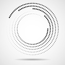 Abstract Dotted Circles. Dots In Circular Form. Halftone Effect