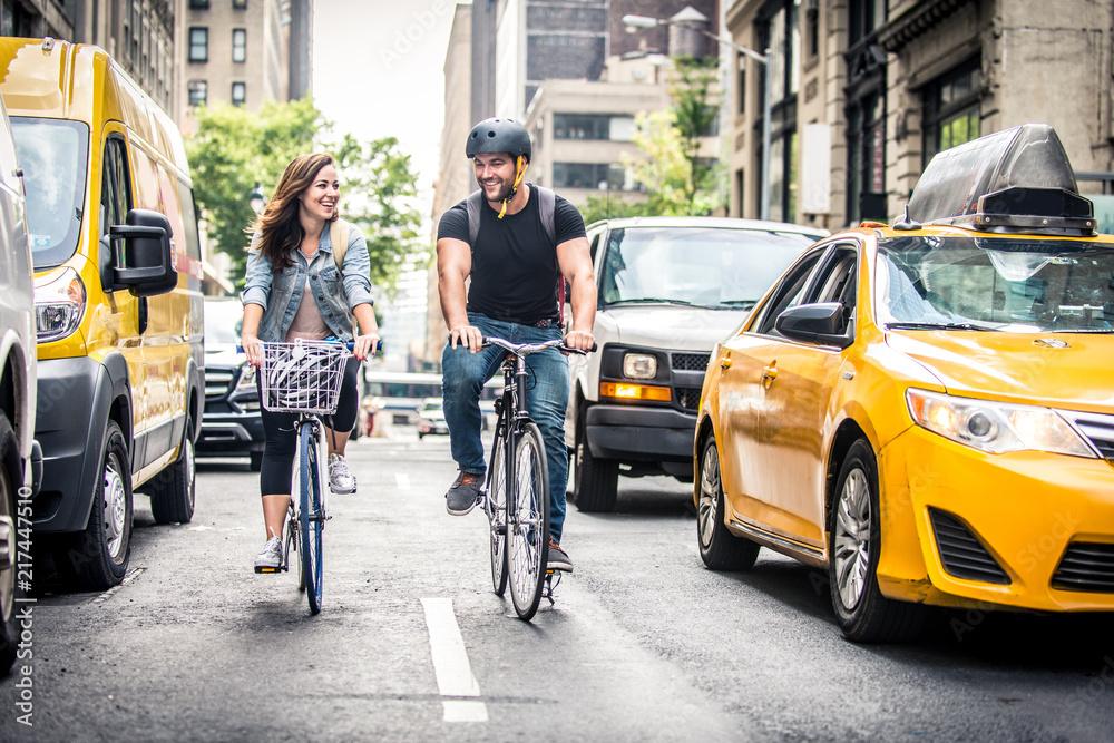 Fototapety, obrazy: Cyclists in New York