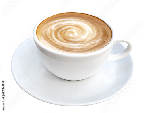 Fotografie, Obraz  Hot coffee latte cappuccino spiral foam isolated on white background, clipping p