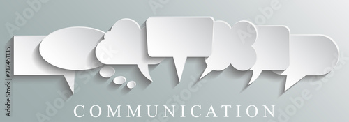 White icons communication concept - stock vector Slika na platnu