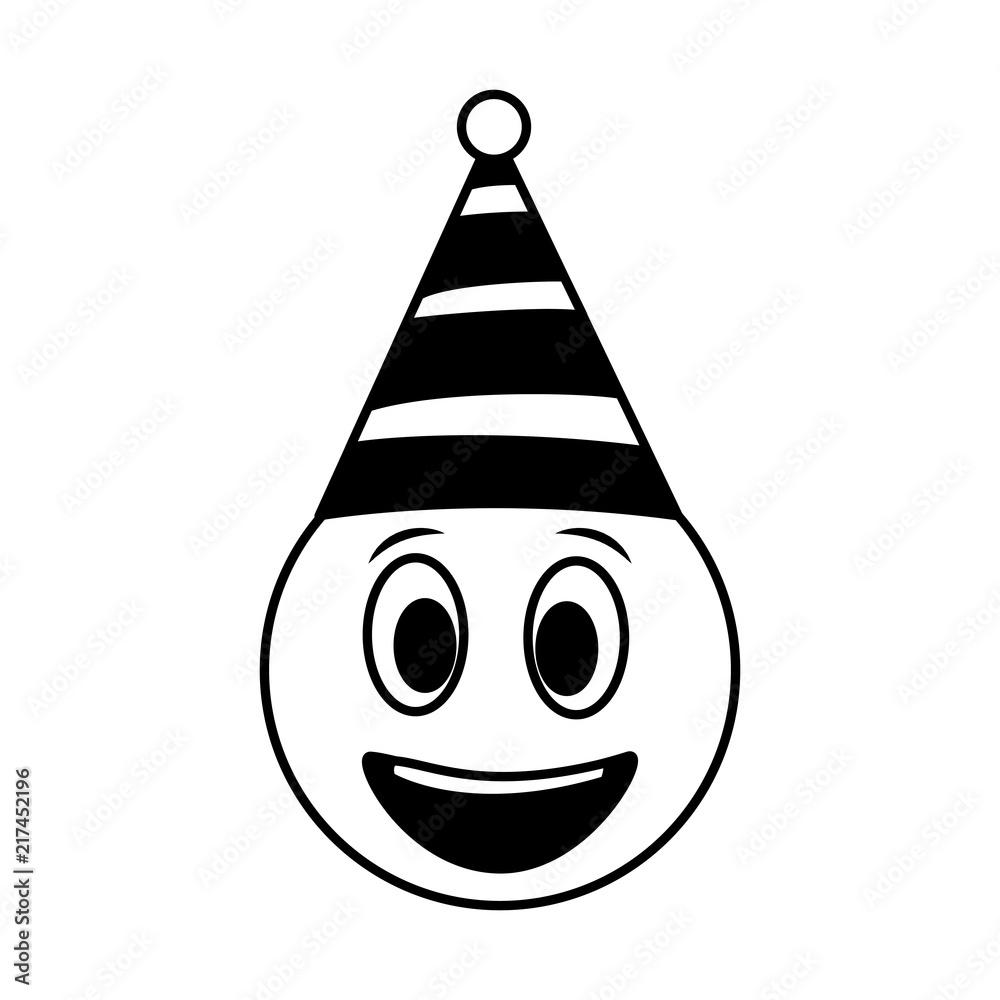 Birthday Happy Face Emoji Party Hat Black And White Foto Poster Wandbilder Bei EuroPosters