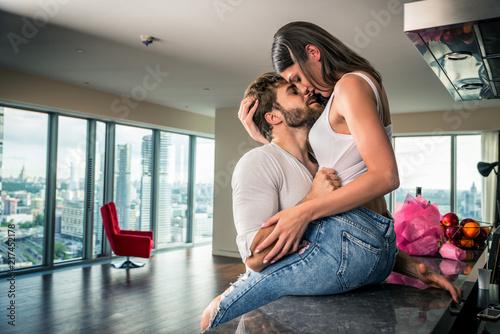 Obraz na plátně Beautiful couple at home