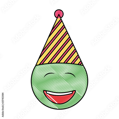 Birthday Face Closed Eyes Emoji Party Hat Drawing