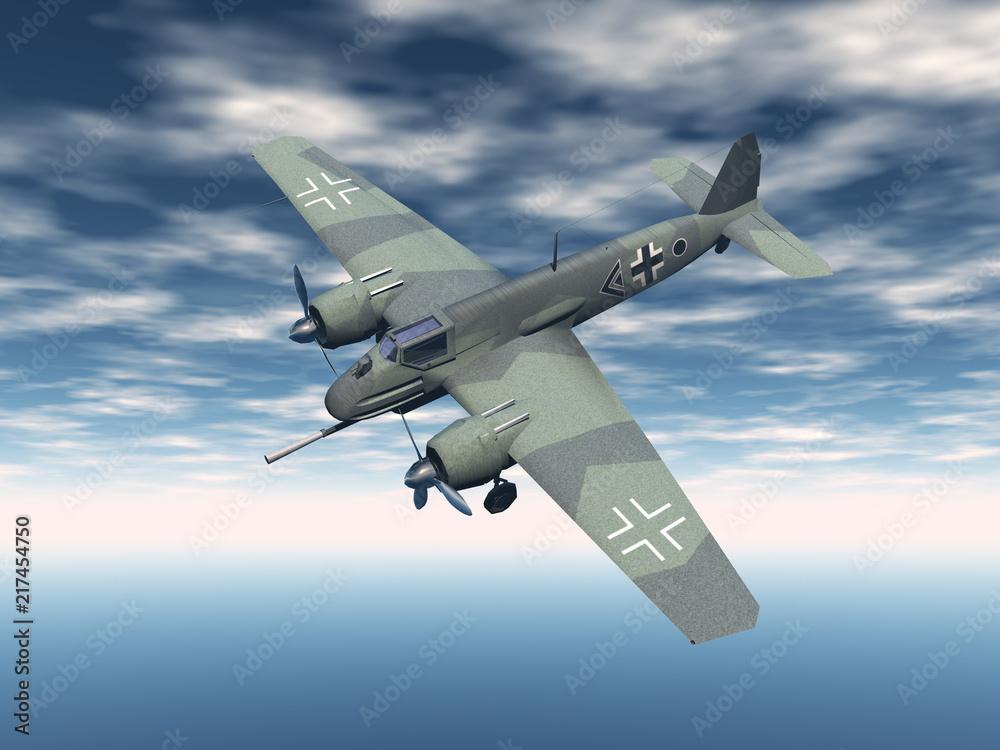 Photo Art Print Militär Propellermaschine Am Himmel Europosters