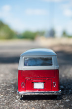 Mulhouse - France - 9 August 2018 - Closeup Of Vintage Van On The Road  On Blurred Background