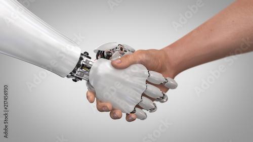 Fotografia, Obraz  Robot and Man Shaking Hands. 3d render